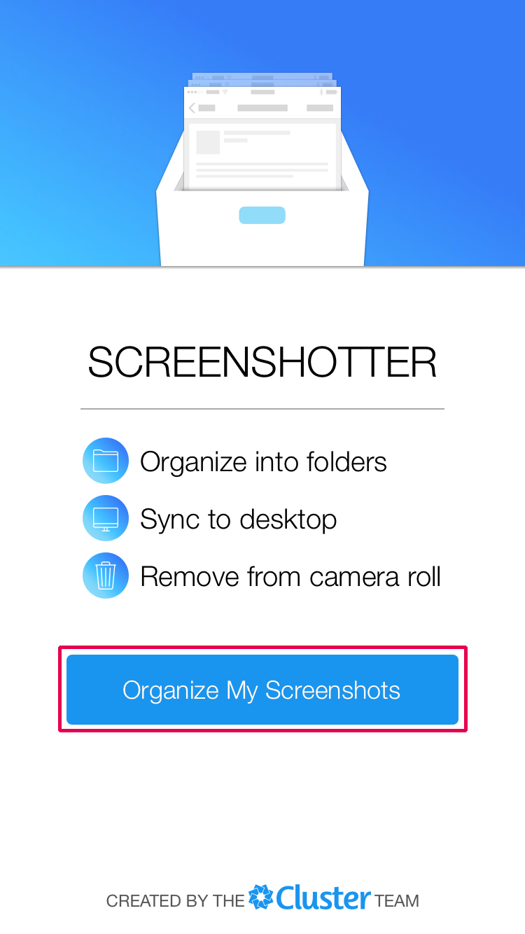 「Organize My Screenshots」をタップ